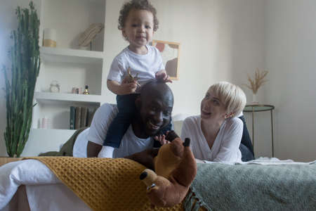 the happy family at home, different nationalities