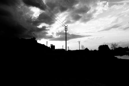 the gloomy sky and factory, black and white photo