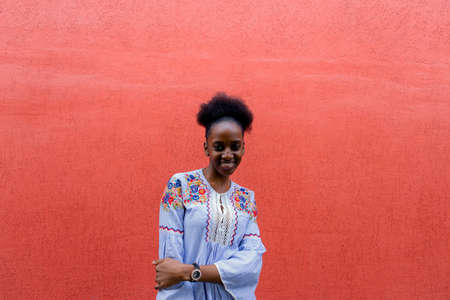 the beautiful African American against the red wall