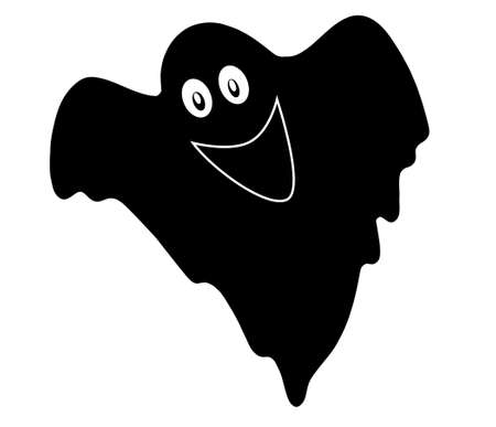 cute and black ghost on a white background, illustration. Standard-Bild