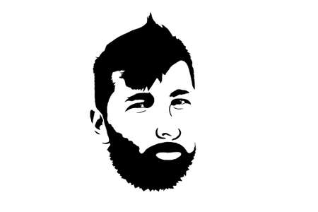 portrait of a man with a beard, black outline on a white background, graphics.