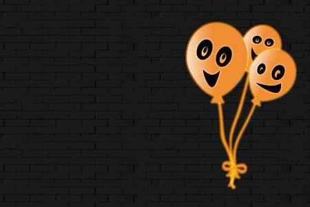 orange balloons emoticons for halloween, black brick background, graphics.
