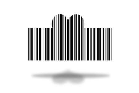 barcode in the form of a heart on a white background with a shadow.