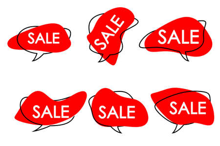 red speech bubbles of abstract shape with the inscription sale.