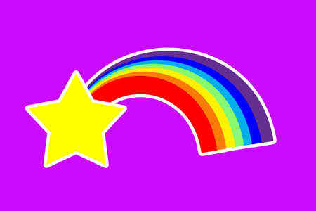 rainbow and star sticker on a purple background.