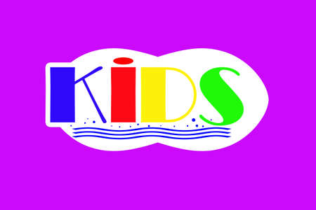 sticker on a purple background, the word kids are multicolored.