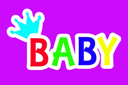 sticker on a purple background, the word baby multicolored. Standard-Bild