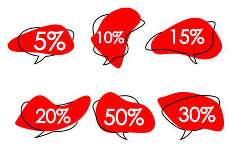 red abstract speech bubbles with the inscription discount. Standard-Bild