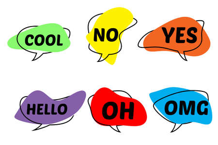 multi-colored speech bubbles of abstract shape with different words. Standard-Bild