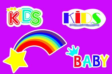 children's set of stickers rainbow and the words kids on a purple background.