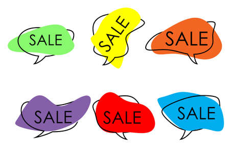 multi-colored speech bubbles of abstract shape with the inscription sale.