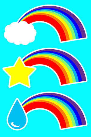 a set of stickers rainbow and droplet, cloud and star on a purple background. Standard-Bild