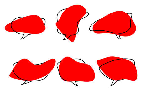 the red speech bubbles of abstract shape.