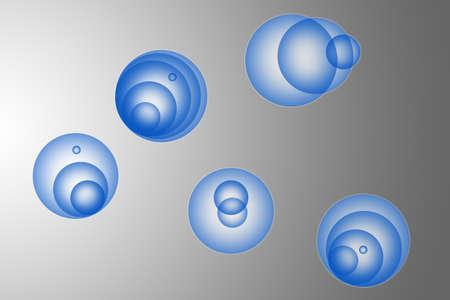 a blue bubbles of different shapes.