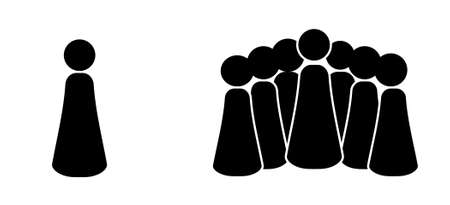 the group icon. A simple icon of a filled group. On a white background.
