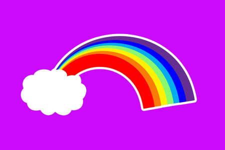 rainbow and cloud sticker on a purple background. Standard-Bild
