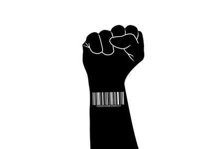 barcode on the hand clenched into a fist on a white background.