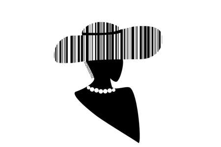 barcode of a woman in a hat on a white background. Standard-Bild