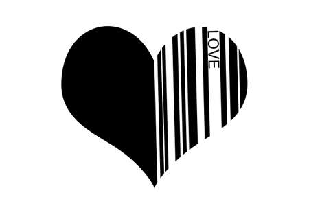 barcode heart on a white background.