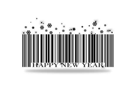barcode happy new year on a white background.