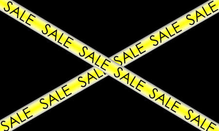 yellow ribbon with the inscription sales, on a black background.