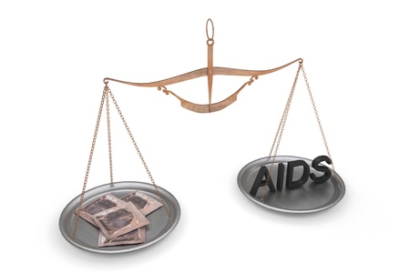 Inscription AIDS and condoms are on the scales, Metaphor on protection against AIDS