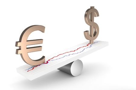 Exchange rate imbalance between dollar and euro  Isolated on white Stock Photo