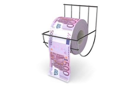Roll of 500 euros bills on a toilet paper spindle