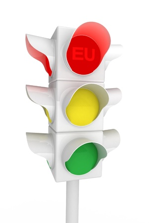 Metaphorical Traffic light over white - 3d render  Stock Photo