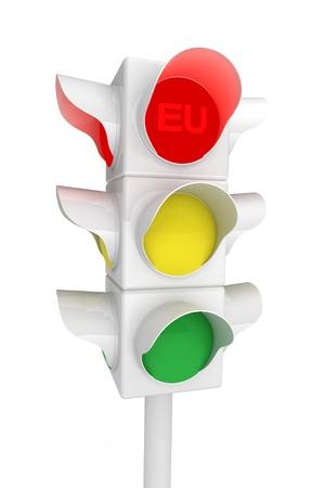 Metaphorical Traffic light over white - 3d render  Stock Photo