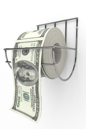 toilet paper: Roll of 100 dollarss bills on a toilet paper spindle  Stock Photo