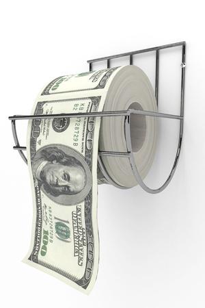 papel higienico: Rollo de billetes de 100 dollarss sobre un eje de papel higi�nico