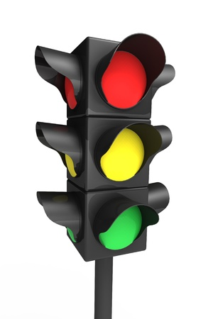 Traffic light over white - 3d render Stock Photo