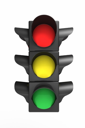Traffic light over white - 3d render