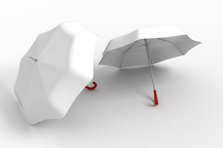 Classic white Umbrellas on White Stock Photo