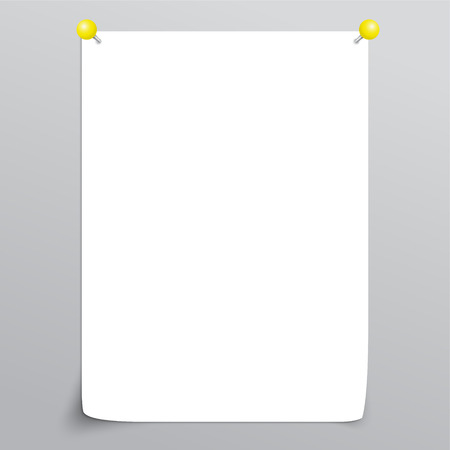 Vector White Empty paper sheet with curl and with yellow pins.