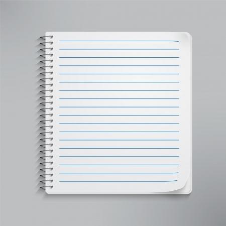 cuaderno espiral: Cuaderno espiral en blanco realista aislado en blanco. Vector