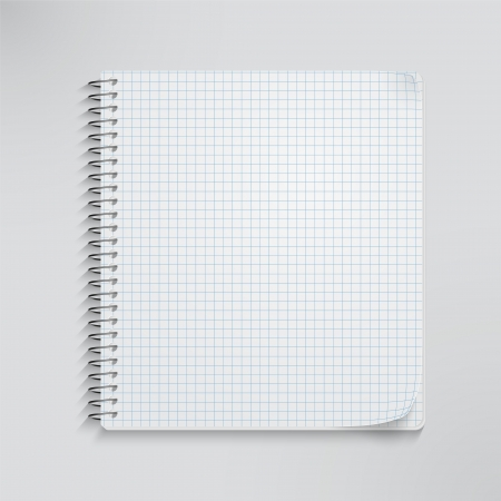 Blank realistic spiral notebook isolated on white. Vector
