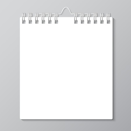 fastening objects: Blank wall calendar with spring. Vector