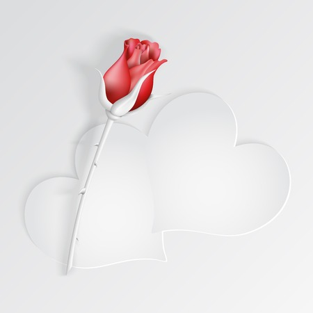 Paper hearts with red rose. Vector illustration