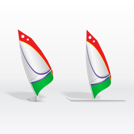 windsurf: Illustration of isolated a colorful windsurf on white background