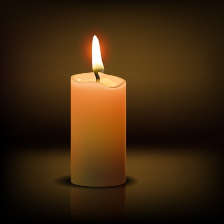 Beautiful Isolated realistic candle at dark. Vector illustration Ilustração