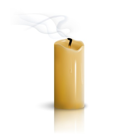 Extinguished candle on a white background Illustration