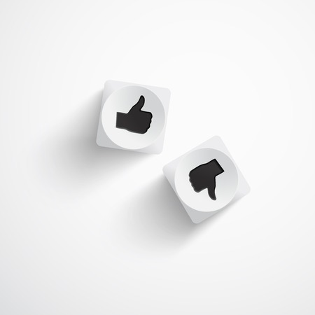 Vector illustration of two white dice.Like and dislike