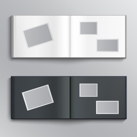 White and dark blanks of photo albums. Vector illustration Illustration
