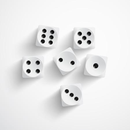 illustratie van de set van witte dobbelstenen
