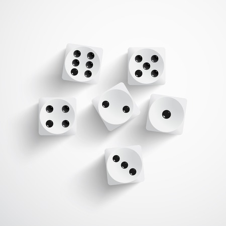 rolling dice: illustration of set of white dices Illustration