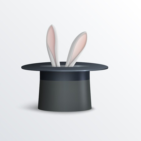 illustration of rabbit in magician hat. Illustration