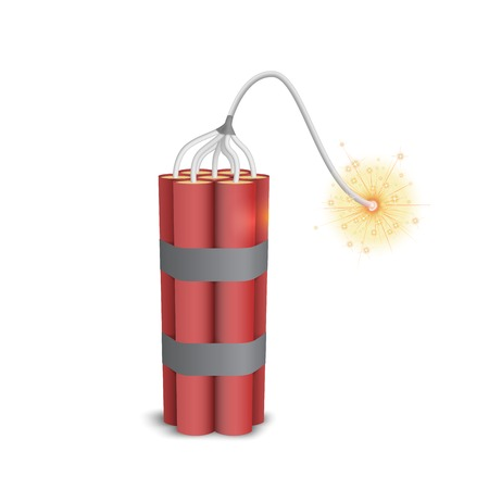 Dynamite pack with burning wick Illustration