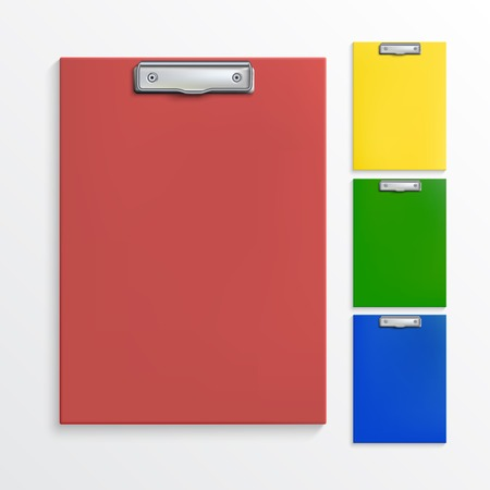 Set of realistic clipboards isolated on white Illustration